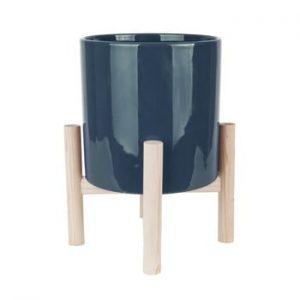 Ghiveci din ceramica pe suport din lemn de pin PT LIVING Trestle, albastru