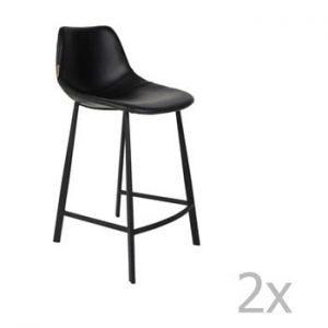 Set 2 scaune bar Dutchbone Franky, inaltime 91 cm, negru