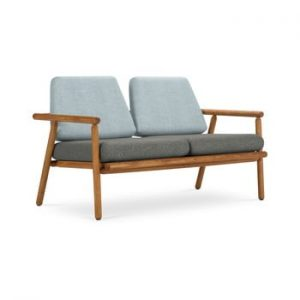 Canapea cu 2 locuri pentru exterior, constructie lemn masiv de salcam Calme Jardin Capri Premium, albastru deschis - gri inchis