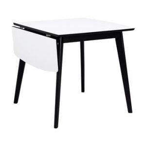 Masa cu extensie pliabila Rowico Olivia, lungime 80 + 30 cm, alb-negru