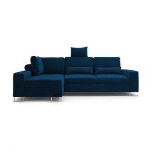 Canapea extensibila cu invelis de catifea Windsor & Co Sofas Diane, pe partea stanga, albastru