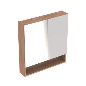 Dulap cu oglinda suspendat Geberit Selnova Square nuc deschis 2 usi 59 cm