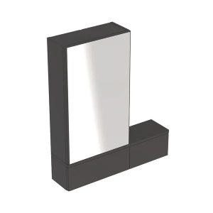 Dulap cu oglinda suspendat Geberit Selnova Square negru 1 usa dreapta 2 usi rabatabile 71 cm