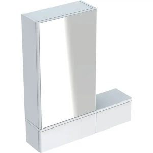Dulap cu oglinda suspendat Geberit Selnova Square alb 1 usa dreapta 2 usi rabatabile 71 cm