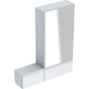 Dulap cu oglinda suspendat Geberit Selnova Square alb 1 usa stanga 2 usi rabatabile 71 cm