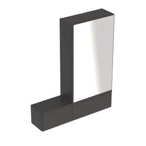 Dulap cu oglinda suspendat Geberit Selnova Square negru 1 usa stanga 2 usi rabatabile 71 cm