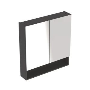 Dulap cu oglinda suspendat Geberit Selnova Square negru 2 usi 79 cm