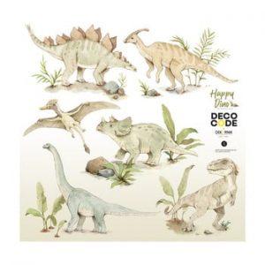 Set autocolante de perete pentru camera copiilor Dekornik Happy Dinozaur, 100 x 100 cm