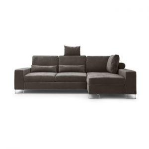 Canapea extensibila cu invelis de catifea Windsor & Co Sofas Diane, pe partea dreapta, maro inchis