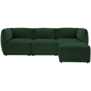 Canapea modulara cu 3 locuri si suport pentru picioare Vivonita Velvet Cube, verde smarald