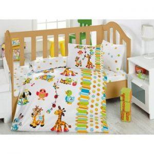 Lenjerie de pat si cearsaf pentru copii Oyun, 100 x 150 cm