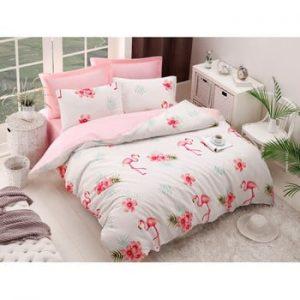 Lenjerie si cearsaf din amestec de bumbac pentru pat dublu Flamenco Cream, 200 x 220 cm