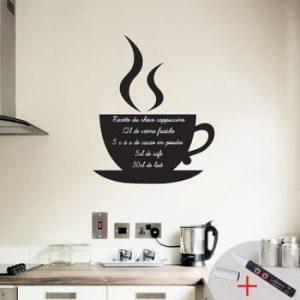 Set autocolant tip tablita de scris si marker Ambience Coffee
