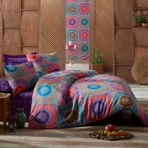 Lenjerie de pat cu cearsaf Ornament Purple, 200x220cm