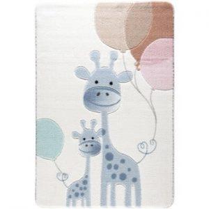 Covor pentru copii Confetti Happy Giraffe, 133 x 190 cm, albastru deschis