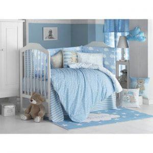 Lenjerie de pat cu cearceaf pentru copii Apolena Carino, 100 x 150 cm, albastru