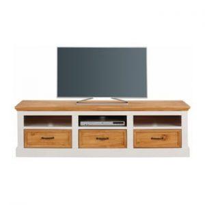 Comoda TV din lemn de pin cu 3 sertare Støraa Suzie, alb-maro