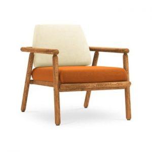 Fotoliu pentru exterior, constructie lemn masiv de salcam Calme Jardin Capri, bej - portocaliu