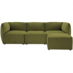 Canapea modulara cu 3 locuri si suport pentru picioare Vivonita Velvet Cube, verde masliniu