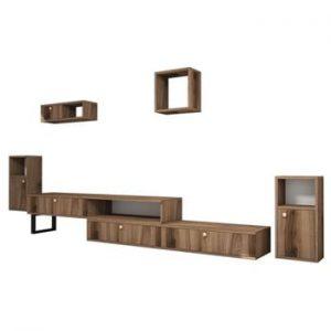 Set comoda TV si 4 rafturi perete in decor de lemn de nuc Ratto Lux