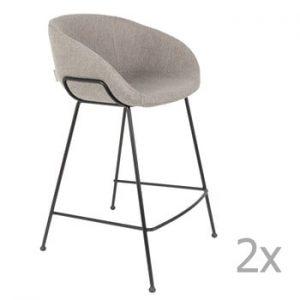 Set 2 scaune bar Zuiver Feston, inaltime scaun 65cm, gri