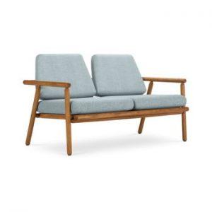 Canapea cu 2 locuri pentru exterior, constructie lemn masiv de salcam Calme Jardin Capri Premium, albastru deschis