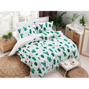 Lenjerie si cearsaf din amestec de bumbac pentru pat dublu Kaktus Green, 200 x 220 cm