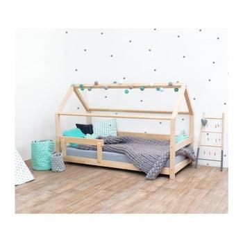 Pat pentru copii, din lemn de molid cu bariere de protectie laterale Benlemi Tery, 80 x 180 cm, natural