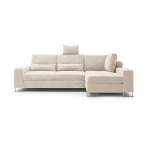 Canapea extensibila cu invelis de catifea Windsor & Co Sofas Diane, pe partea dreapta, bej