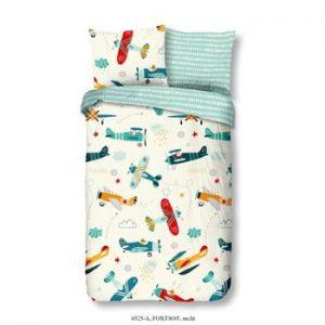 Lenjerie de pat din bumbac pentru copii Good Morning Airplane, 140 x 200 cm