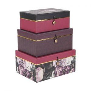 Set 3 cutii de depozitare PT LIVING Flowers