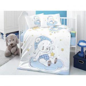 Lenjerie de pat din bumbac pentru copii Night Bear, 100 x 150 cm