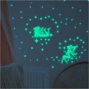 Set autocolante fosforescente de perete Ambiance The Dark Big Fairies