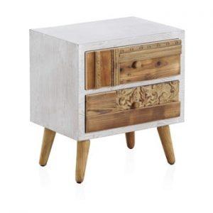 Noptiera cu detalii albe si 2 sertare Geese Rustico Puro, 48,5 x 52 cm