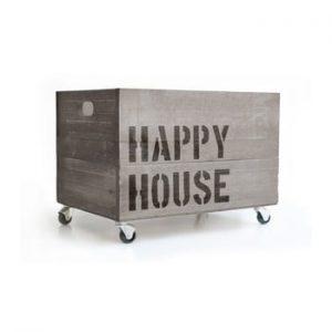 Cutie din lemn cu roti Really Nice Things Happy House, gri