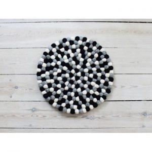 Perna pentru scaun, cu bile din lana Wooldot Ball Chair Pad, ⌀ 39 cm, alb - negru
