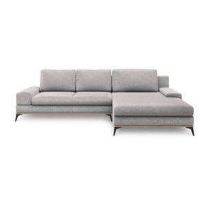 Canapea extensibila de colt Windsor & Co Sofas Planet, pe partea dreapta, gri deschis