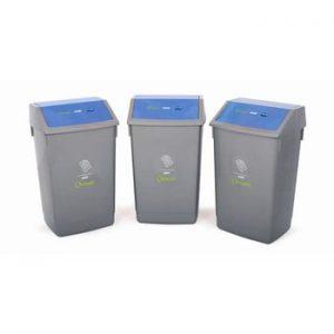 Set 3 cosuri de gunoi cu capac albastru, pentru reciclare Addis, 41 x 33,5 x 68 cm