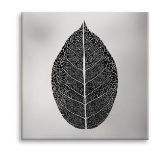 Tablou Styler Canvas Silver Uno Black Leaf, 65 x 65 cm