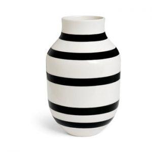 Vaza din gresie ceramica Kähler Design Omaggio, inaltime 30,5 cm, negru - alb