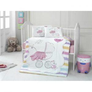 Lenjerie de pat din bumbac pentru copii Pastel, 100 x 150 cm