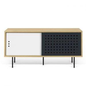 Comoda TV cu aspect din lemn de stejar si detalii alb - negru TemaHome Dann Dots, lungime 135 cm