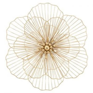 Decoratiune pentru perete Mauro Ferretti Flower Stick, 58,5x55cm, auriu