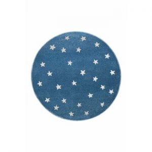 Covor rotund KICOTI Stars, ø 80 cm, albastru-alb
