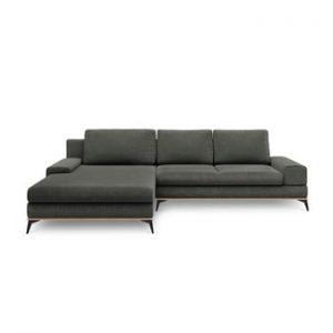 Canapea extensibila de colt Windsor & Co Sofas Planet, pe partea stanga, gri inchis