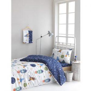 Lenjerie de pat din bumbac ranforce pentru pat de 1 persoana Mijolnir Spacex Dark Blue, 140 x 200 cm