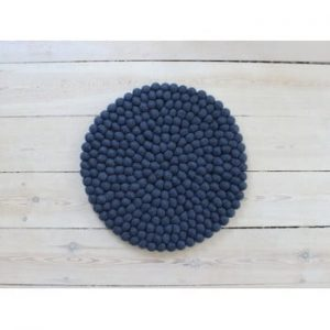 Perna pentru scaun, cu bile din lana Wooldot Ball Chair Pad, ⌀ 39 cm, albastru inchis