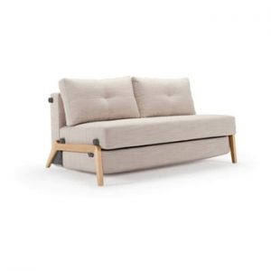 Canapea extensibila Innovation Cubed Wood Linen Sand Grey, 96 x 147 cm, gri bej
