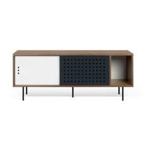 Comoda TV TemaHome Dann Dots, decor nuc cu detalii alb-negru, lungime 165 cm