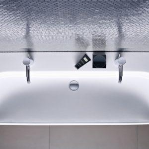 Lavoar pe mobilier Geberit Smyle Square 120 cm cu orificiu baterie stanga si dreapta